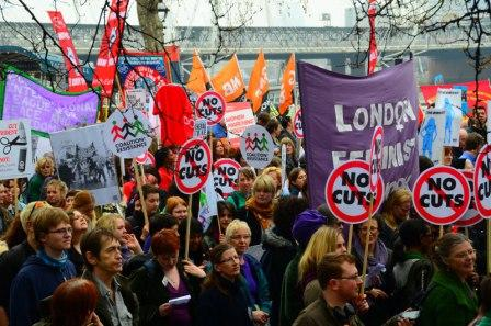 Carrying the LFN banner at the March for the Alternative demo