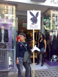 Demonstrating outside the Playboy store